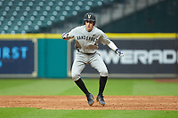 Connor Kaiser (12) of the Vanderbilt Commodores takes his lead off of first base against the Louisiana Ragin' Cajuns in game five of the 2018 Shriners Hospitals for Children College Classic at Minute Maid Park on March 3, 2018 in Houston, Texas.  The Ragin' Cajuns defeated the Commodores 3-0.  (Brian Westerholt/Four Seam Images)