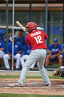 Philadelphia Phillies third baseman Maikel Franco (12) at bat during an instructional league game against the Toronto Blue Jays on September 28, 2015 at the Englebert Complex in Dunedin, Florida.  Franco is on rehab for a wrist injury.  (Mike Janes/Four Seam Images)