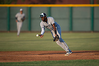 AZL Padres 1 second baseman Luis Guzman (7) flips a ball to Jarryd Dale (not pictured) on a double play attempt during an Arizona League game against the AZL Cubs 1 at Sloan Park on July 5, 2018 in Mesa, Arizona. The AZL Cubs 1 defeated the AZL Padres 1 3-1. (Zachary Lucy/Four Seam Images)
