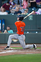 Kyle Tucker (30) of the Buies Creek Astros follows through on a 3-run home run against the Winston-Salem Dash at BB&T Ballpark on April 15, 2017 in Winston-Salem, North Carolina.  The Astros defeated the Dash 13-6.  (Brian Westerholt/Four Seam Images)