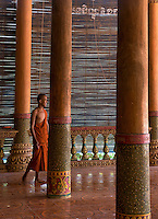A Monk at the Lobster Monastery on Silk Island outside Phnom Penh, Cambodia.