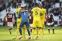 Brentford players celebrate their victory at the final whistle during West Ham United vs Brentford, Premier League Football at The London Stadium on 3rd October 2021