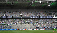 23rd May 2020, BORUSSIA-PARK, North Rhine-Westphalia, Germany; Bundesliga football, Borussia Moenchengladbach versus Bayer Leverkusen; Cardboard pictures of fans placed in the stands to support their teams and a sign to the players