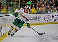 9 February 2019: University of Vermont Catamount Forward Vlad Dzhioshvili, a Sophomore from Moscow, Russia, in first period action against the University of New Hampshire Wildcats at Gutterson Fieldhouse in Burlington, Vermont. The Catamounts defeated the Wildcats 4-1 to split their 2-game Hockey East weekend series. Mandatory Credit: Ed Wolfstein Photo *** RAW (NEF) Image File Available ***