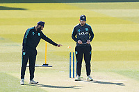 Amar Virdi, Surrey CCC pointing out where to bowl? during Surrey CCC vs Hampshire CCC, LV Insurance County Championship Group 2 Cricket at the Kia Oval on 1st May 2021