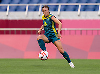 TOKYO, JAPAN - JULY 24: Hayley Raso #16 of Australia controls the ball during a game between Australia and Sweden at Saitama Stadium on July 24, 2021 in Tokyo, Japan.