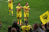 15th March 2020, Wellington, New Zealand;  Phoenix's captain Steven Taylor walks from the field with team mate Matti Steinmann after the A-League - Wellington Phoenix versus Melbourne Victory football match at Sky Stadium in Wellington on Sunday the 15th March 2020.