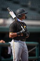 Pittsburgh Pirates Dariel Lopez (29) on deck during a Florida Instructional League game against the Detroit Tigers on October 16, 2020 at Joker Marchant Stadium in Lakeland, Florida.  (Mike Janes/Four Seam Images)