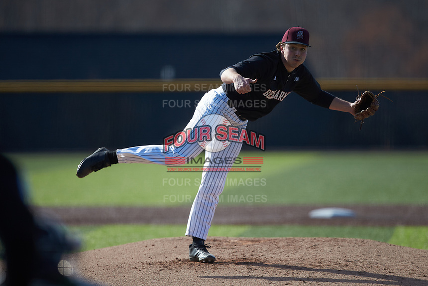 Bellarmine Knights starting pitcher Brandon Pfaadt (28) follows through on his delivery against the North Greenville Crusaders at Ashmore Park on February 7, 2020 in Tigerville, South Carolina. The Crusaders defeated the Knights 10-2. (Brian Westerholt/Four Seam Images)