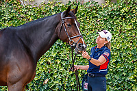 USA-Laura Kraut presents Baloutinue during the Horse Inspection. 2021 ESP-Longines FEI Jumping Nations Cup Final. Real Club de Polo, Barcelona. Spain. Thursday 30 September 2021. Copyright Photo: Libby Law Photography