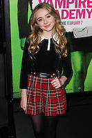 """LOS ANGELES, CA - FEBRUARY 04: Sabrina Carpenter at the Los Angeles Premiere Of The Weinstein Company's """"Vampire Academy"""" held at Regal Cinemas L.A. Live on February 4, 2014 in Los Angeles, California. (Photo by Xavier Collin/Celebrity Monitor)"""