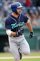 First baseman Scott Schreiber (33) of the Asheville Tourists in a game against the Greenville Drive on Wednesday, June 2, 2021, at Fluor Field at the West End in Greenville, South Carolina. (Tom Priddy/Four Seam Images)
