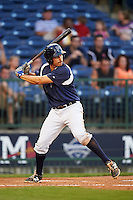 Pensacola Blue Wahoos third baseman Seth Mejias-Brean (5) at bat during a game against the Mississippi Braves on May 28, 2015 at Trustmark Park in Pearl, Mississippi.  Mississippi  defeated Pensacola 4-2.  (Mike Janes/Four Seam Images)
