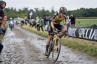 Marianne Vos (NED/Jumbo Visma) at the infamous Carrefour de l'Arbre<br /> <br /> Inaugural Paris-Roubaix Femmes 2021 (1.WWT)<br /> One day race from Denain to Roubaix (FRA)(116.4km)<br /> <br /> ©kramon