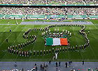 Sept. 1, 2012; Members of the Notre Dame Marching Band form the country of Ireland during halftime of the 2012 Emerald Isle Classic against Navy at Aviva Stadium in Dublin, Ireland. Photo by Barbara Johnston/University of Notre Dame