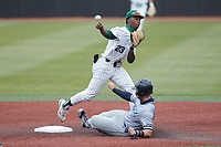 LuJames Groover III (23) of the Charlotte 49ers makes a throw to first base after forcing out Brock Gagliardi (10) of the Old Dominion Monarchs at second base at Hayes Stadium on April 23, 2021 in Charlotte, North Carolina. (Brian Westerholt/Four Seam Images)