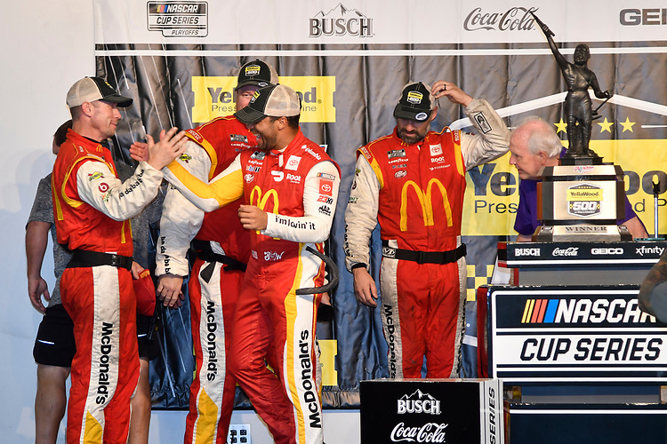 #23: Bubba Wallace, 23XI Racing, Toyota Camry McDonald's, celebrates after winning.