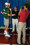 Bob and Mike Bryan being interviewed for WTT.com prior to their Freedoms vs. Explorers WTT match in Villanova, PA on July 16, 2012