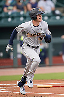 Third baseman Curtis Mead (16) of the Charleston RiverDogs in a game against the Columbia Fireflies on Tuesday, May 11, 2021, at Segra Park in Columbia, South Carolina. (Tom Priddy/Four Seam Images)