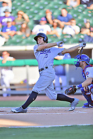 Pensacola Blue Wahoos third baseman Nick Senzel (13) swings at a pitch during a game against the Tennessee Smokies at Smokies Stadium on August 5, 2017 in Kodak, Tennessee. The Smokies defeated the Blue Wahoos 6-2. (Tony Farlow/Four Seam Images)