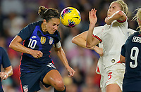 ORLANDO, FL - MARCH 05: Carli Lloyd #10 of the United States heads a ball during a game between England and USWNT at Exploria Stadium on March 05, 2020 in Orlando, Florida.