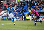 St Johnstone v Dundee…11.03.17     SPFL    McDiarmid Park<br />Danny Swanson chips his shot over the bar<br />Picture by Graeme Hart.<br />Copyright Perthshire Picture Agency<br />Tel: 01738 623350  Mobile: 07990 594431