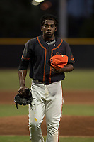 AZL Giants Black relief pitcher Aneudy Acosta (29) jogs off the field between innings of an Arizona League game against the AZL Athletics at the San Francisco Giants Training Complex on June 19, 2018 in Scottsdale, Arizona. AZL Athletics defeated AZL Giants Black 8-3. (Zachary Lucy/Four Seam Images)