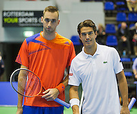 21-12-13,Netherlands, Rotterdam,  Topsportcentrum, Tennis Masters, Semifinal men Thomas Schoorel(NED) and Jesse Huta Galung(NED) (R)<br /> Photo: Henk Koster