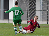 20151024 - ZWEVEZELE , BELGIUM : Laura Cools pictured during a soccer match between the women teams of SKV Zwevezele Ladies and KSOC Maria Ter Heide  , during the eight matchday in the Third League - Derde Nationale season, Saturday 24 October 2015 . PHOTO DAVID CATRY