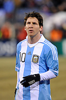 Lionel Messi (10) of Argentina. The United States (USA) and Argentina (ARG) played to a 1-1 tie during an international friendly at the New Meadowlands Stadium in East Rutherford, NJ, on March 26, 2011.