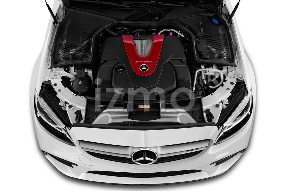 Car stock 2019 Mercedes Benz C-CLass 43-AMG 4 Door Sedan engine high angle detail view