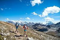 Trail running on the Via Valais, a multi-day trail running tour connecting Verbier with Zermatt, Switzerland.