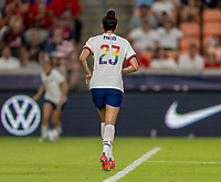 HOUSTON, TX - JUNE 10: Christen Press #23 of the USWNT sprints downfield during a game between Portugal and USWNT at BBVA Stadium on June 10, 2021 in Houston, Texas.