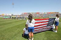 Teams during the national anthems prior to the USA's 3-1 win vs Mexico in Group A of the 2008 CONCACAF Olympic Women's Qualifying Tournament  in Ciudad Juarez, Mexico, April 6, 2008.