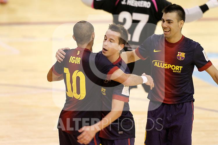 FC Barcelona Alusport's Lin (c), Sergio Lozano (r) and Igor Raphael Lima de Souza celebrate goal during Spanish National Futsal League match.November 24,2012. (ALTERPHOTOS/Acero)