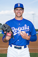 Andre Davis (44) of the Burlington Royals poses for a photo prior to the game against the Danville Braves at Burlington Athletic Park on July 12, 2015 in Burlington, North Carolina.  The Royals defeated the Braves 9-3. (Brian Westerholt/Four Seam Images)