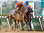 ELMONT, NY - OCTOBER 08: Hoppertunity #3 (red cap), ridden by John Velazquez, wins thw Jockey Club Gold Cup on Jockey Club Gold Cup Day at Belmont Park on October 8, 2016 in Elmont, New York. (Photo by Doug DeFelice/Eclipse Sportswire/Getty Images)