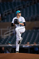 Salt River Rafters starting pitcher Ryan Castellani (20), of the Colorado Rockies organization, during an Arizona Fall League game against the Mesa Solar Sox on September 19, 2019 at Salt River Fields at Talking Stick in Scottsdale, Arizona. Salt River defeated Mesa 4-1. (Zachary Lucy/Four Seam Images)