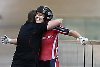 Olivia Podmore celebrates with her coach Hamish Ferguson after finishing first in the Women Elite sprint final during the 2020 Vantage Elite and U19 Track Cycling National Championships at the Avantidrome in Cambridge, New Zealand on Friday, 24 January 2020. ( Mandatory Photo Credit: Dianne Manson )