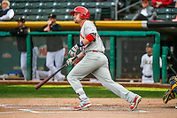 Patrick Wisdom (4) of the Memphis Redbirds at bat against the Salt Lake Bees in Pacific Coast League action at Smith's Ballpark on May 24, 2016 in Salt Lake City, Utah. The Bees defeated the Redbirds 7-5. (Stephen Smith/Four Seam Images)
