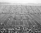 """GPHR 45/2958:  Football Game Day - View from the press box of the Marching Band formation of """"ND"""" on the field, 1956.  Image from the University of Notre Dame Archives."""