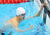 July 28, 2012: Yang Sun of China reacts after winning men's 400 Freestyle final at the Aquatics Center on day one of 2012 Olympic Games in London, United Kingdom. He won the gold medal by  setting a new Olympic Record with a time of 3:40.14.