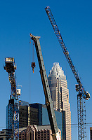 High rise construction projects are reshaping the Charlotte, NC, downtown business district. Photos taken as part of a story package on crane construction.