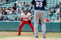 Fresno Grizzlies shortstop Carter Kieboom (8) takes a lead off first base during a game against the Reno Aces at Chukchansi Park on April 8, 2019 in Fresno, California. Fresno defeated Reno 7-6. (Zachary Lucy/Four Seam Images)