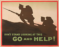 """BNPS.co.uk (01202) 558833<br /> Pic: Onslows/BNPS<br /> <br /> WW1 recruitment posters part of the poster sale. """"Don't Stand Looking At This Go and Help""""<br /> <br /> An incredibly-rare poster that was the forerunner for the famous 'Your Country Wants You' World War One recruitment advert has been discovered. <br /> The poster, featuring Lord Kitchener pointing his finger, was a news stand advert for an edition of the magazine London Opinion in September 1914.<br /> Officials from the War Office spotted it and decided they wanted the same design for their nationwide recruitment campaign for young men to join the army."""