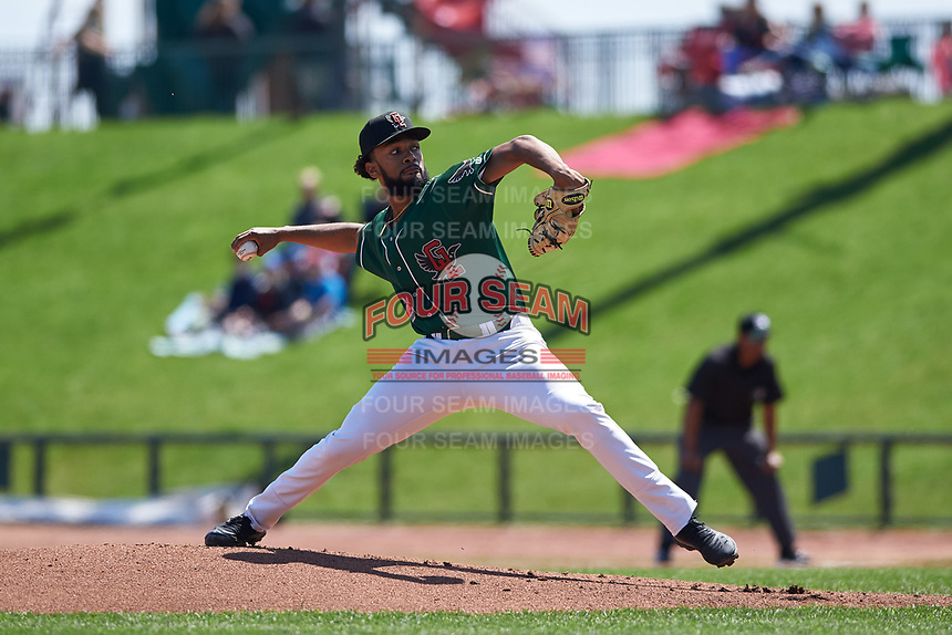 Great Lakes Loons starting pitcher Andre Jackson (28) during a Midwest League game against the Wisconsin Timber Rattlers at Dow Diamond on May 4, 2019 in Midland, Michigan. Great Lakes defeated Wisconsin 5-1. (Zachary Lucy/Four Seam Images)