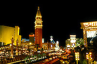 Las Vegas, The Venetian, casino, Nevada, NV, The Strip, The Venetian Casino Resort replica of Venice, Italy on The Strip at night in Las Vegas, the Entertainment Capital of the World.