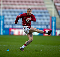 29th April 2021; DW Stadium, Wigan, Lancashire, England; BetFred Super League Rugby, Wigan Warriors versus Hull FC; Zak Hardaker of Wigan Warriors practices his kicking pre match