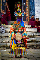 Colurful dancer at the Prakhar Lhakhang festival, Bumthang, Bhutan