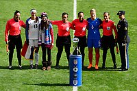 Harrison, NJ - Sunday March 04, 2018: Referees, Alex Morgan, Amanine Henry, Waites, Lucila Venegas, Enedina Caudillo, Karen Diaz, Tatiana Montes during a 2018 SheBelieves Cup match match between the women's national teams of the United States (USA) and France (FRA) at Red Bull Arena.
